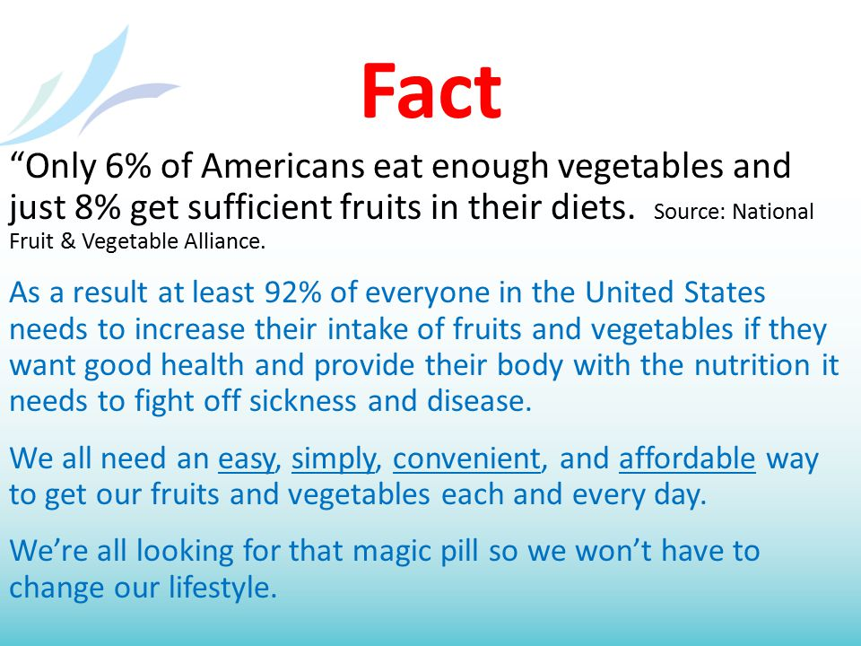 Fact Only 6% of Americans eat enough vegetables and just 8% get sufficient fruits in their diets.