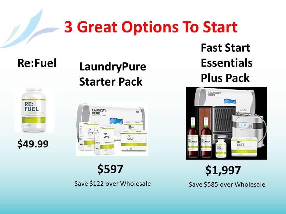 3 Great Options To Start Re:Fuel LaundryPure Starter Pack Fast Start Essentials Plus Pack $49.99 $597 $1,997 Save $122 over Wholesale Save $585 over W