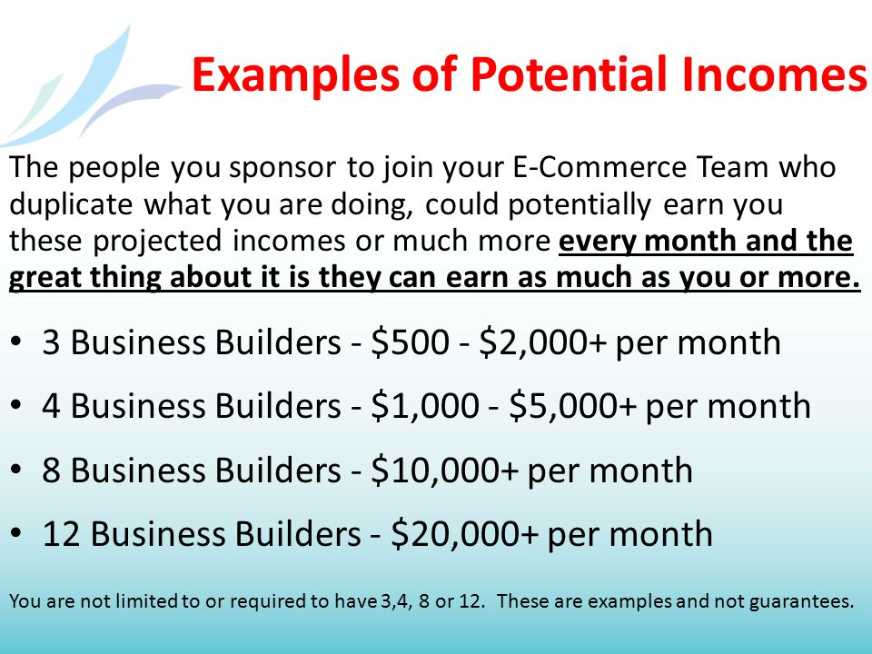 Examples of Potential Incomes The people you sponsor to join your E-Commerce Team who duplicate what you are doing, could potentially earn you these p