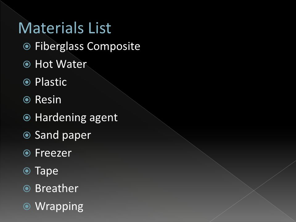  Fiberglass Composite  Hot Water  Plastic  Resin  Hardening agent  Sand paper  Freezer  Tape  Breather  Wrapping