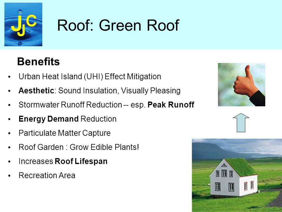 Roof: Green Roof Urban Heat Island (UHI) Effect Mitigation Aesthetic: Sound Insulation, Visually Pleasing Stormwater Runoff Reduction -- esp.