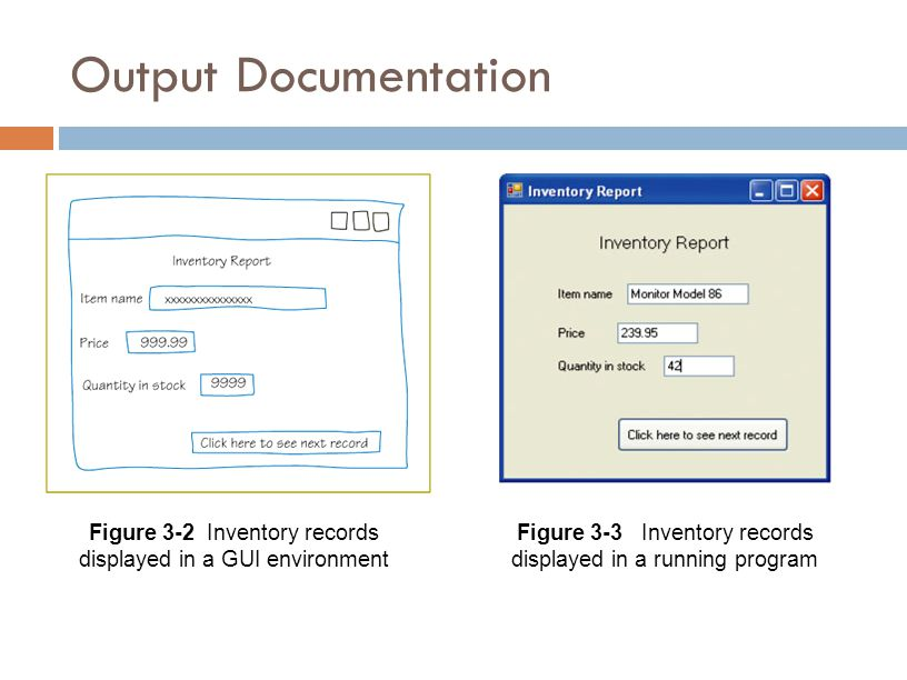 Input Documentation  Describes what input is available to produce the output  File description:  Describes data stored in a file  Indicates fields, data types, and lengths Figure 3-6 Inventory file description