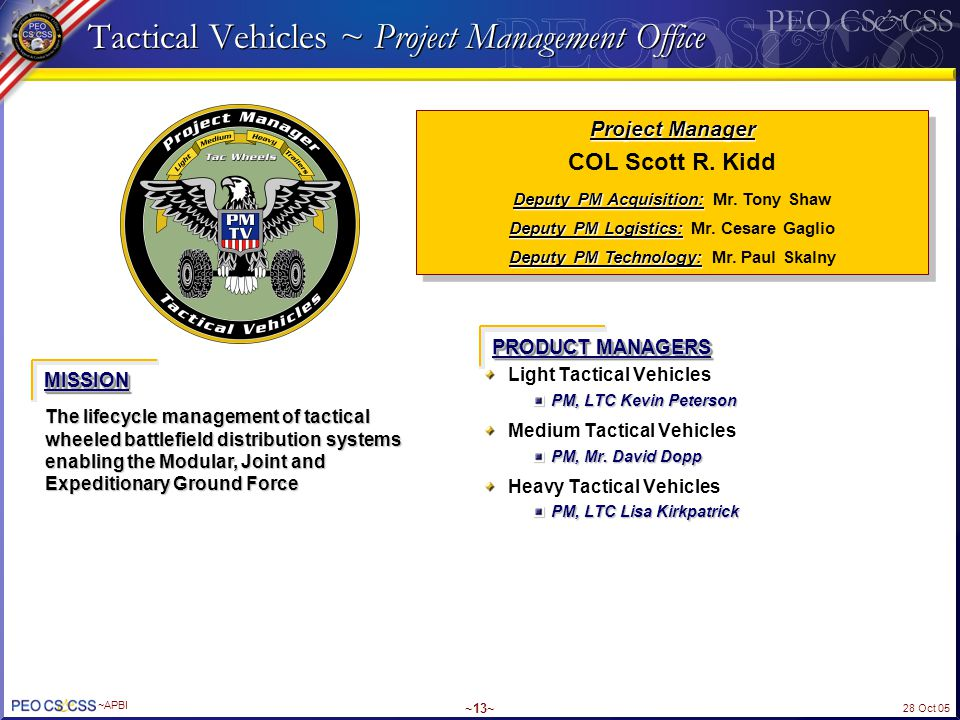 28 Oct 05 ~APBI ~13~ Tactical Vehicles ~ Project Management Office Light Tactical Vehicles PM, LTC Kevin Peterson Medium Tactical Vehicles PM, Mr. Dav