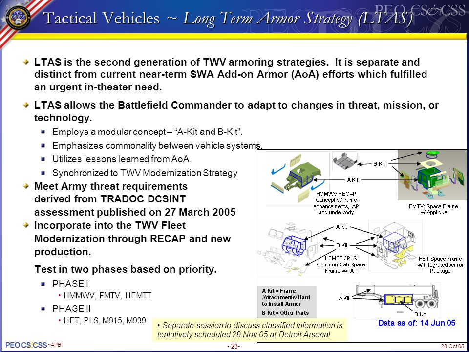 28 Oct 05 ~APBI ~23~ Tactical Vehicles ~ Long Term Armor Strategy (LTAS) LTAS is the second generation of TWV armoring strategies. It is separate and