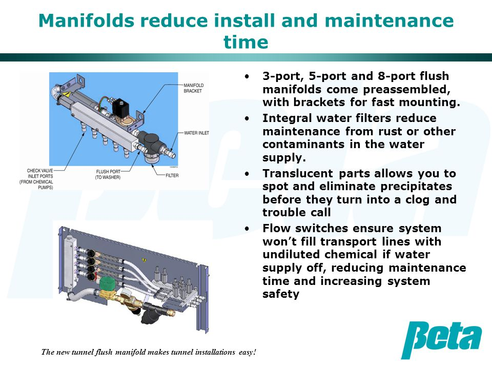 Manifolds reduce install and maintenance time 3-port, 5-port and 8-port flush manifolds come preassembled, with brackets for fast mounting.