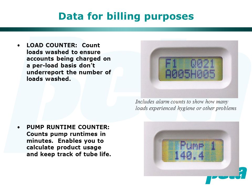 Data for billing purposes LOAD COUNTER: Count loads washed to ensure accounts being charged on a per-load basis don't underreport the number of loads washed.