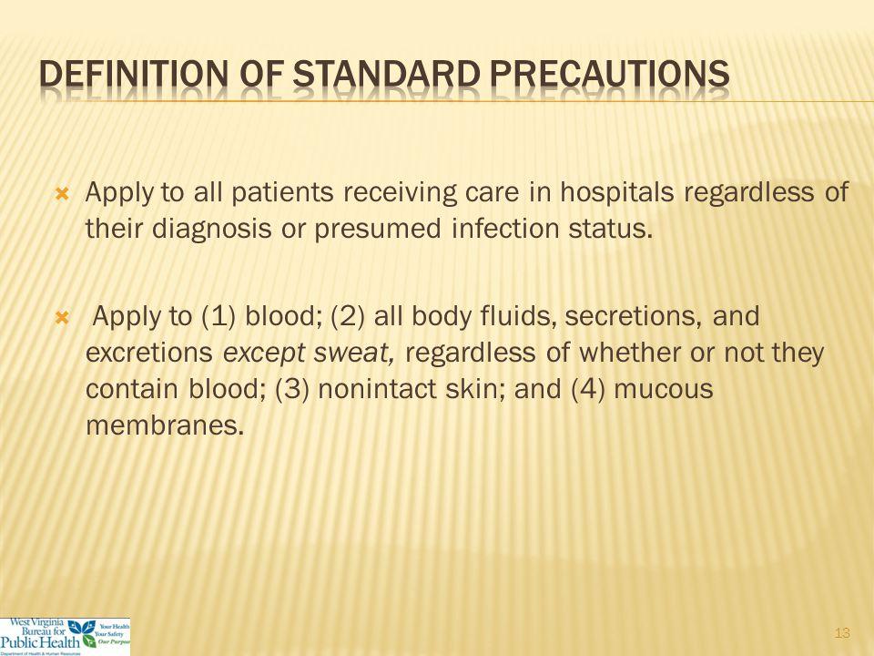  Standard precautions  Transmission-based precautions  Contact precautions  Airborne precautions  Droplet precautions 12