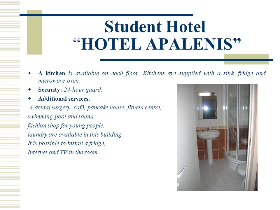 Student Hotel HOTEL APALENIS  A kitchen is available on each floor.