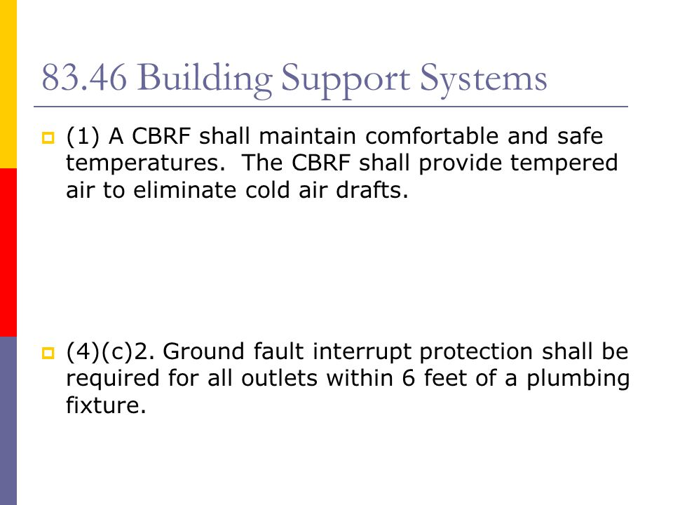 SUBCHAPTER IX - SAFETY  83.47 – Fire Safety Requirements  83.48 – Fire Protection Systems  83.49 – Alternative Requirements to a Sprinkler System in a Small Class C CBRF  83.50 – Minimum Type of Construction  83.51 – Area of Refuge