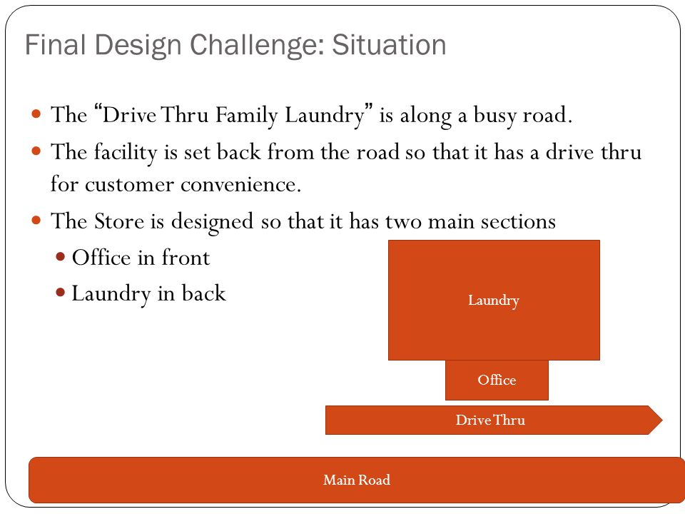 Final Design Challenge: Situation The Drive Thru Family Laundry is along a busy road.