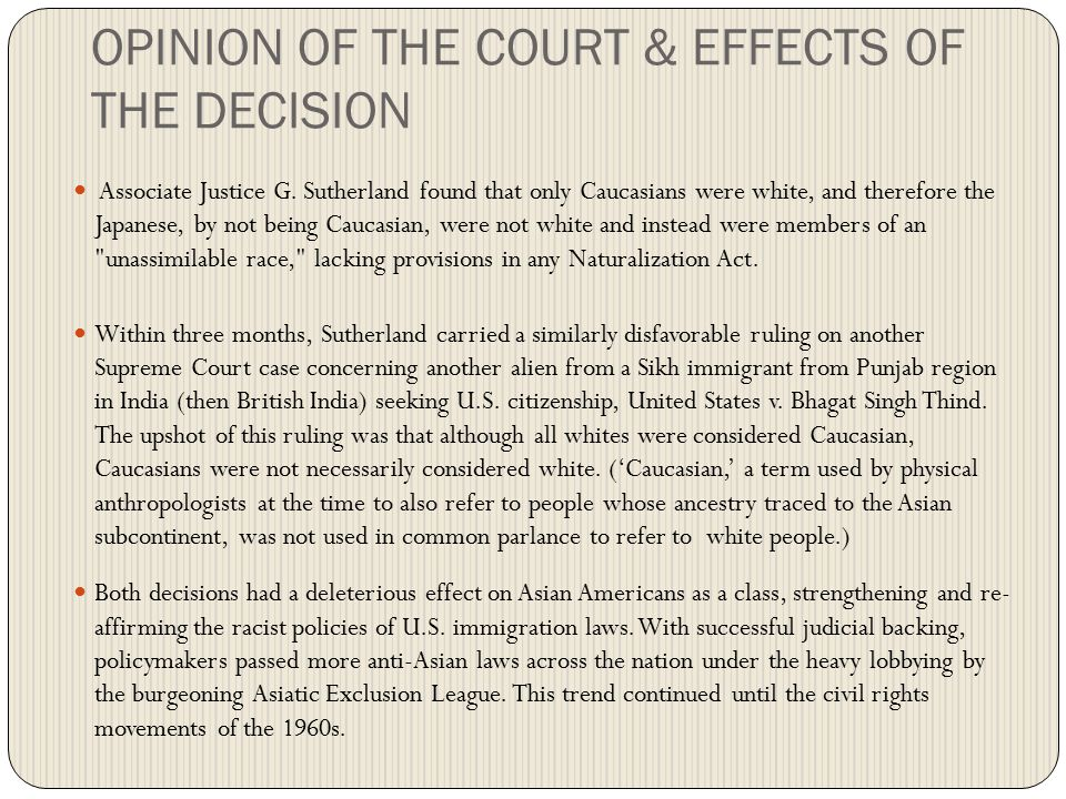 CONCLUSION The Court sided with the government and held that the need to protect against espionage outweighed Korematsu s rights.