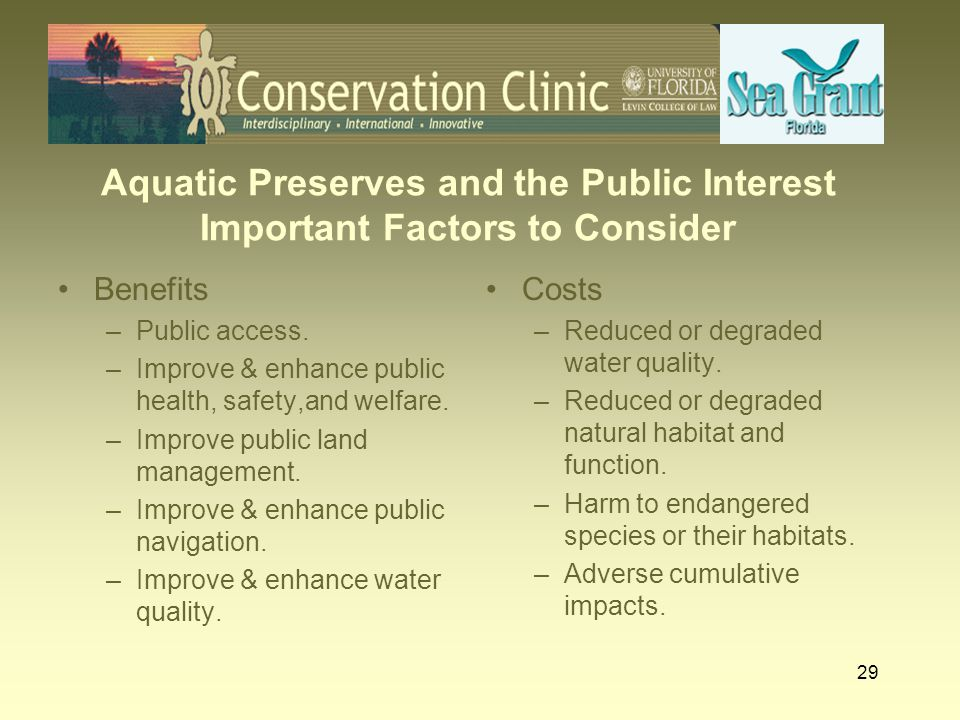 29 Aquatic Preserves and the Public Interest Important Factors to Consider Benefits –Public access. –Improve & enhance public health, safety,and welfa