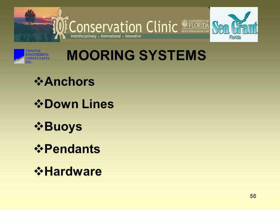 COASTAL ENGINEERING CONSULTANTS INC. MOORING COMPONENTS Town of Ft. Myers Beach City of Sarasota