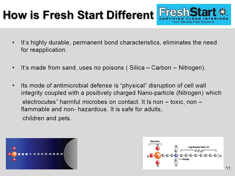 How is Fresh Start Different It's highly durable, permanent bond characteristics, eliminates the need for reapplication.