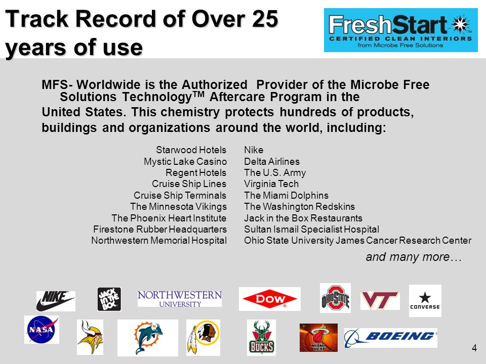 Track Record of Over 25 years of use MFS- Worldwide is the Authorized Provider of the Microbe Free Solutions Technology TM Aftercare Program in the United States.