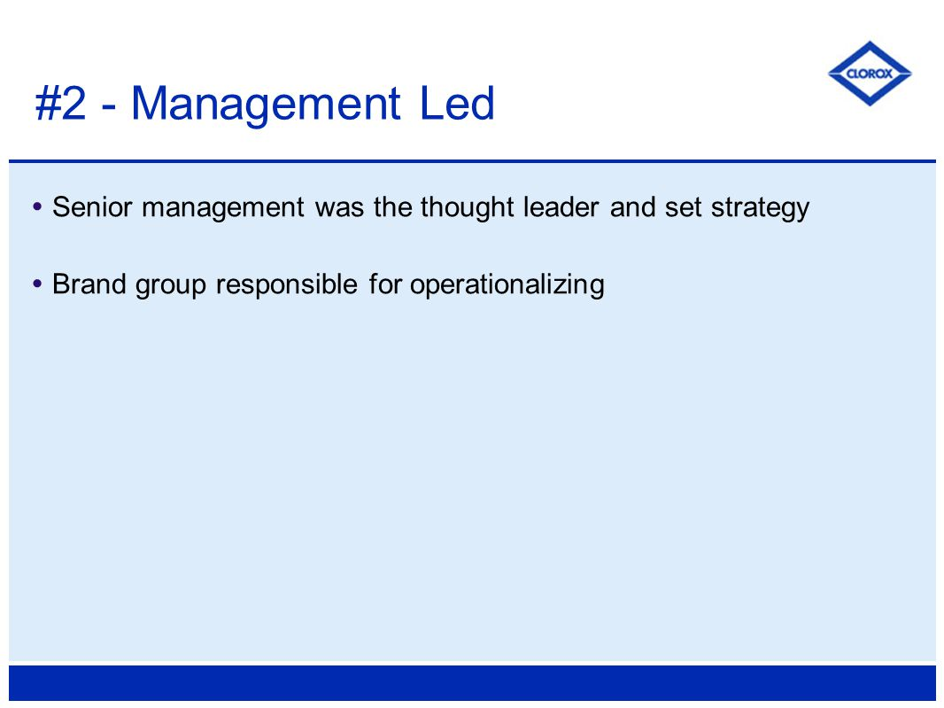  Senior management was the thought leader and set strategy  Brand group responsible for operationalizing #2 - Management Led