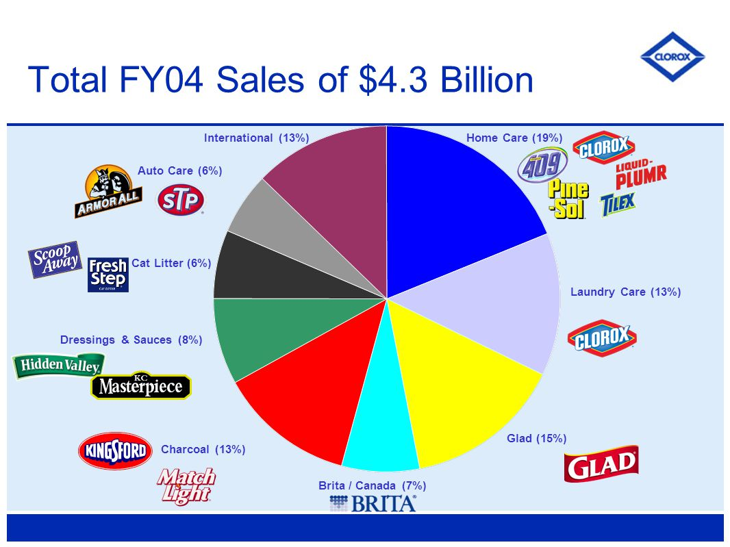 Total FY04 Sales of $4.3 Billion Home Care (19%) Auto Care (6%) Charcoal (13%) Dressings & Sauces (8%) Cat Litter (6%) Brita / Canada (7%) Glad (15%) Laundry Care (13%) International (13%)