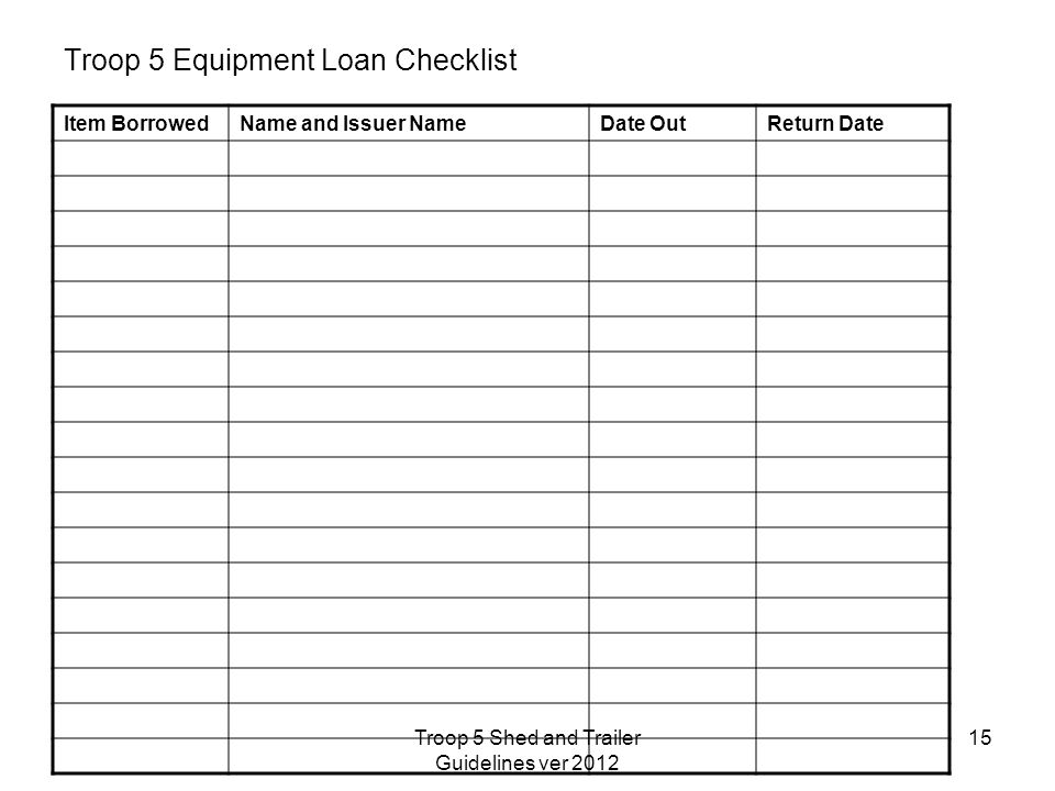 Troop 5 Equipment Loan Checklist Item BorrowedName and Issuer NameDate OutReturn Date 15Troop 5 Shed and Trailer Guidelines ver 2012
