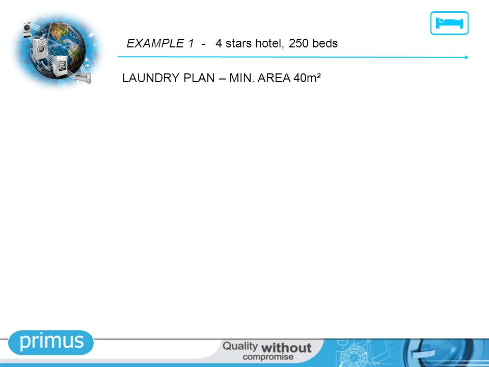LAUNDRY PLAN – MIN. AREA 40m² EXAMPLE 1 - 4 stars hotel, 250 beds
