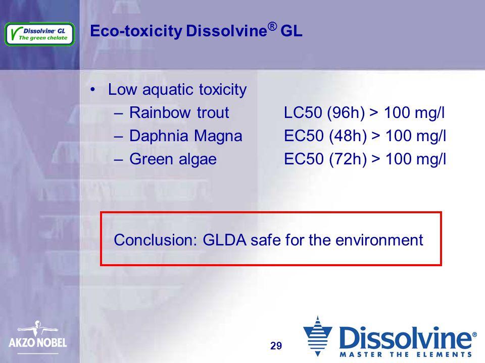 Eco-toxicity Dissolvine ® GL Low aquatic toxicity –Rainbow trout LC50 (96h) > 100 mg/l –Daphnia Magna EC50 (48h) > 100 mg/l –Green algae EC50 (72h) >