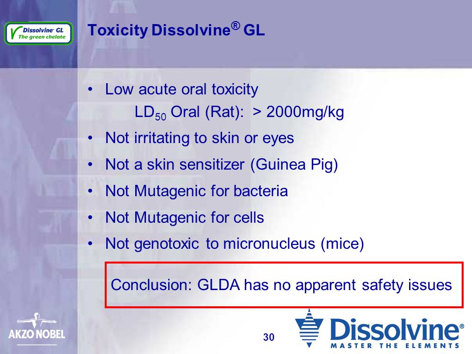 Toxicity Dissolvine ® GL Low acute oral toxicity LD 50 Oral (Rat): > 2000mg/kg Not irritating to skin or eyes Not a skin sensitizer (Guinea Pig) Not M