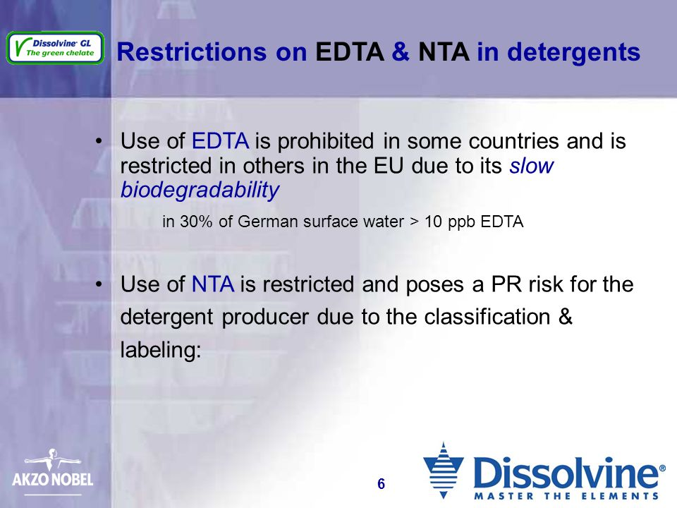 Use of EDTA is prohibited in some countries and is restricted in others in the EU due to its slow biodegradability in 30% of German surface water > 10