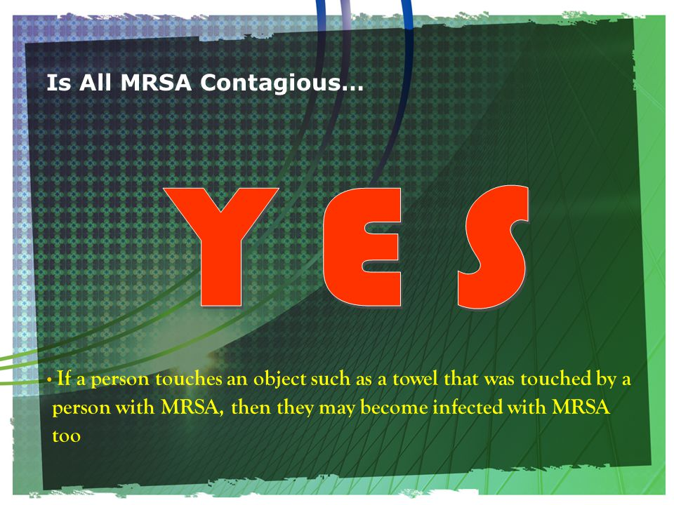 Is All MRSA Contagious… If a person touches an object such as a towel that was touched by a person with MRSA, then they may become infected with MRSA too