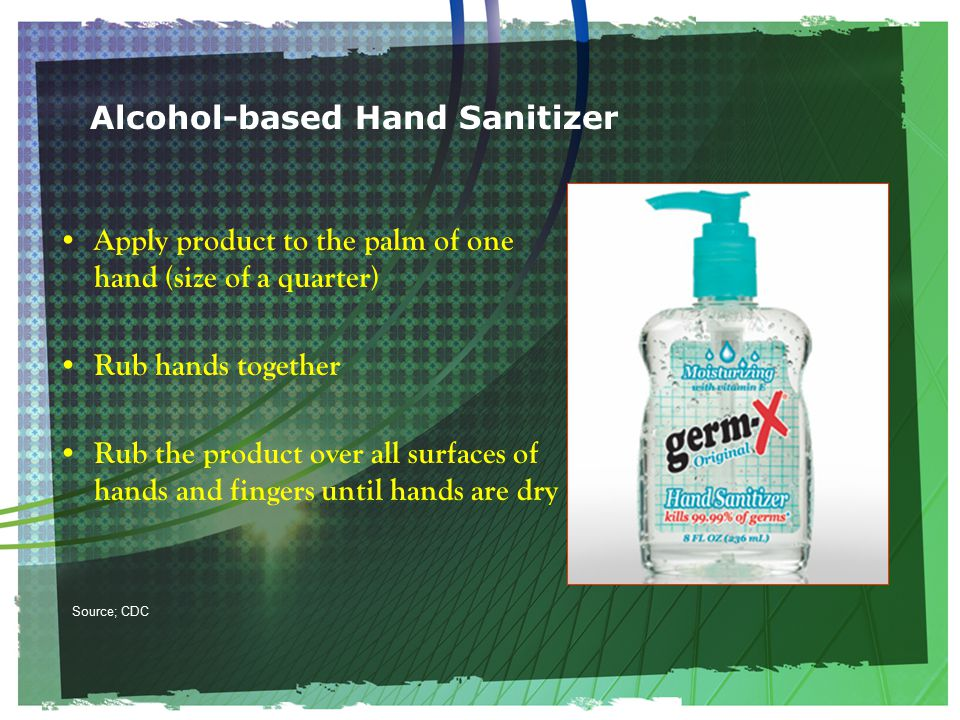 Alcohol-based Hand Sanitizer Apply product to the palm of one hand (size of a quarter) Rub hands together Rub the product over all surfaces of hands and fingers until hands are dry Source; CDC