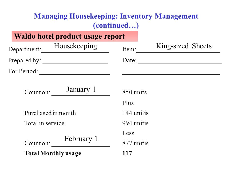 Managing Housekeeping: Inventory Management (continued…) Waldo hotel product usage report 117 Total Monthly usage 877 unitis Count on: _______________