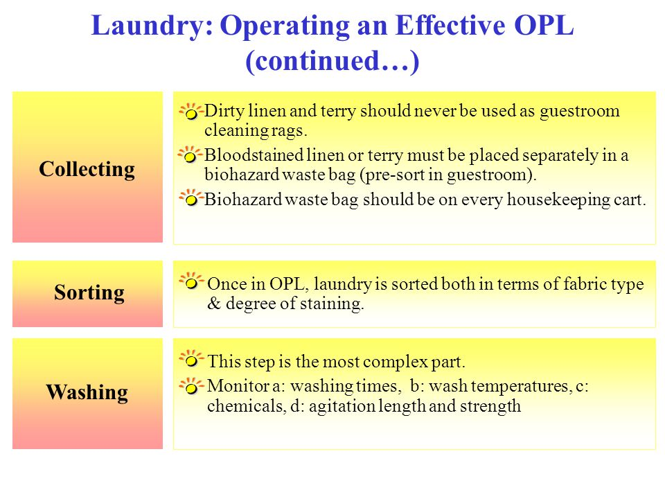 Collecting Laundry: Operating an Effective OPL (continued…) Dirty linen and terry should never be used as guestroom cleaning rags. Bloodstained linen