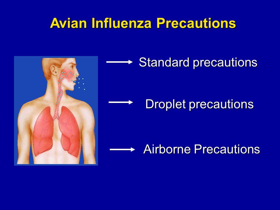 Droplet precautions Avian Influenza Precautions Standard precautions Airborne Precautions