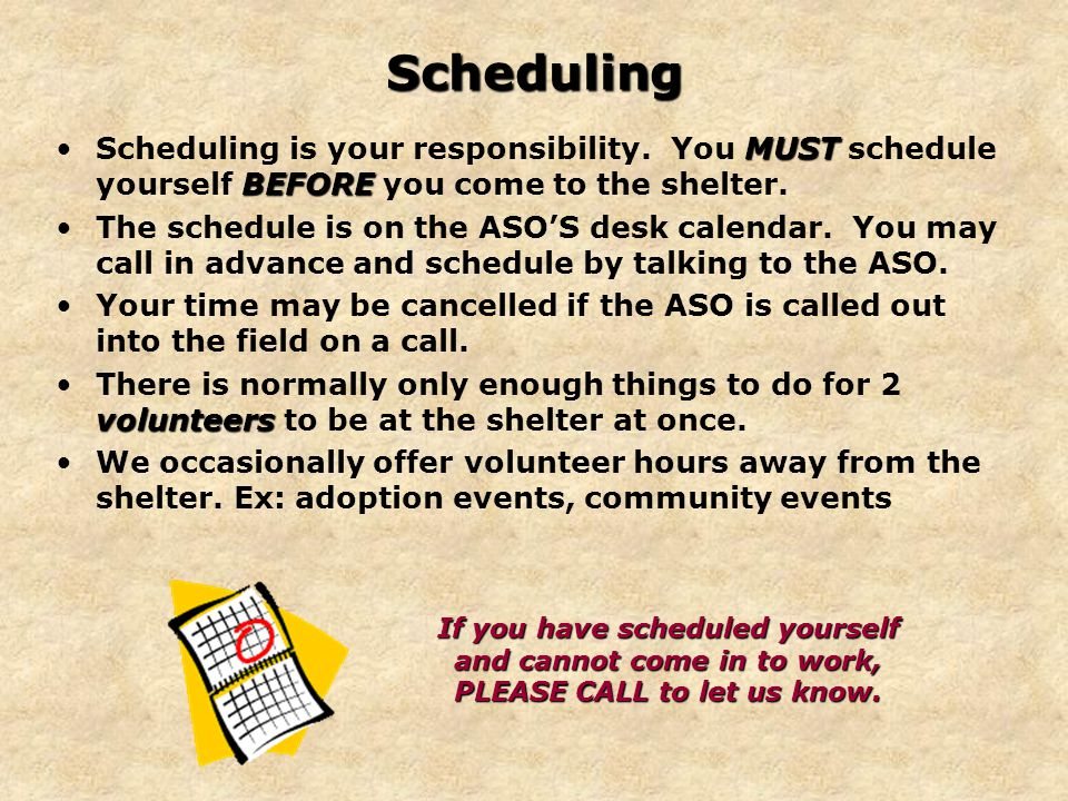 Scheduling MUST BEFOREScheduling is your responsibility.