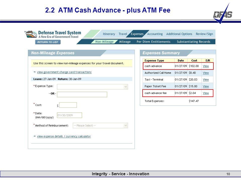 Integrity - Service - Innovation 10 2.2 ATM Cash Advance - plus ATM Fee