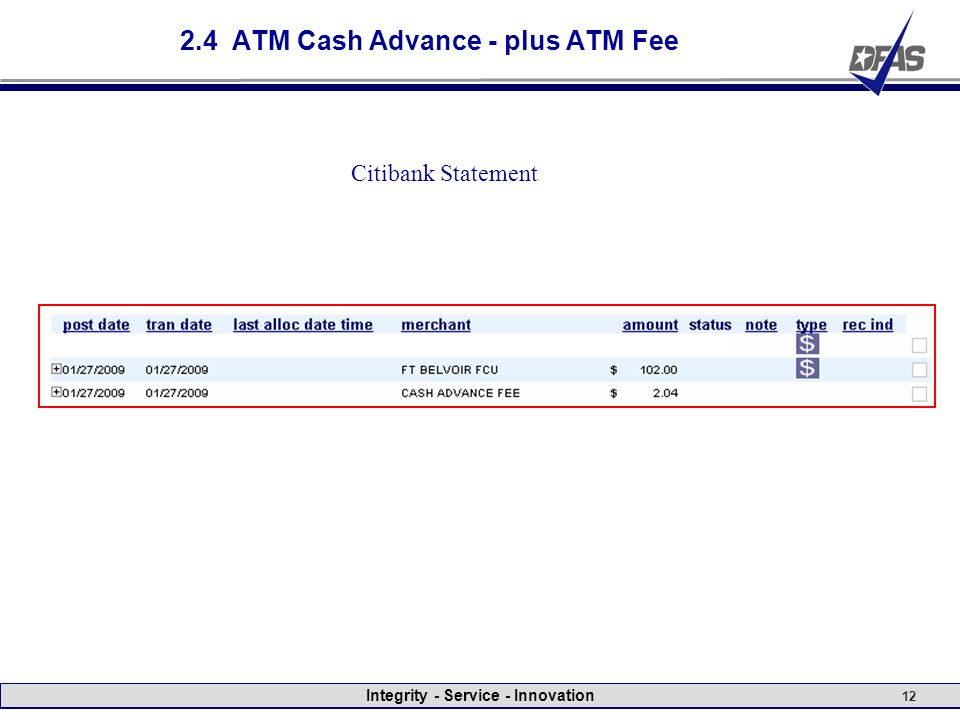 Integrity - Service - Innovation 12 2.4 ATM Cash Advance - plus ATM Fee Citibank Statement