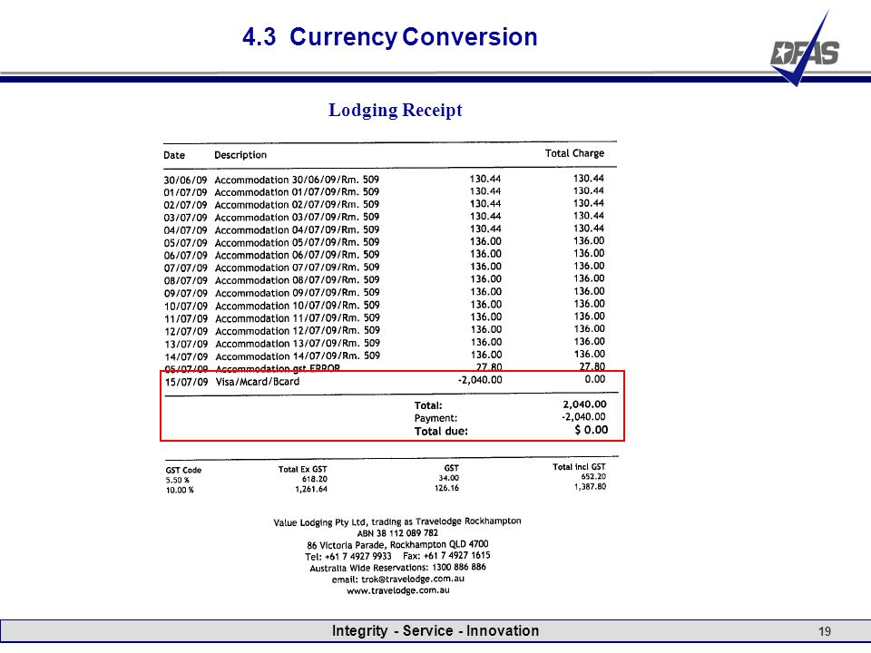 Integrity - Service - Innovation 19 4.3 Currency Conversion Lodging Receipt