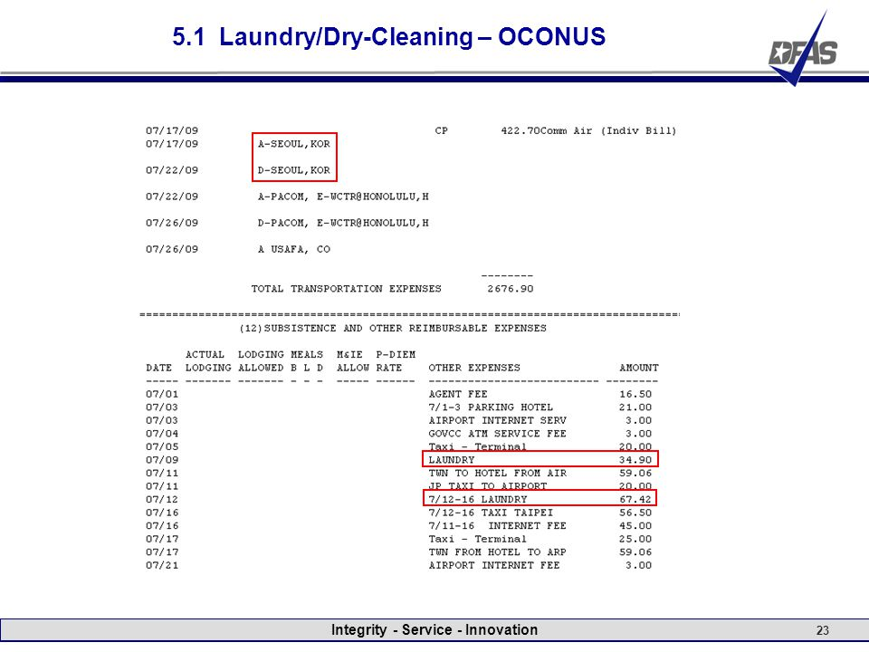 Integrity - Service - Innovation 23 5.1 Laundry/Dry-Cleaning – OCONUS