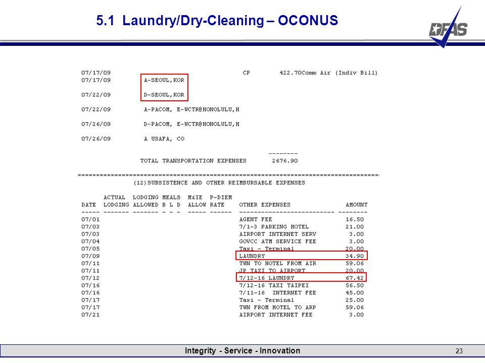 Integrity - Service - Innovation 23 5.1 Laundry/Dry-Cleaning – OCONUS