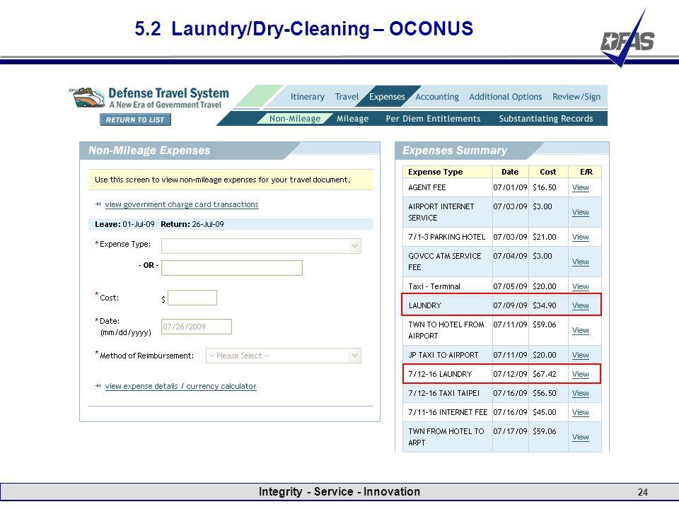 Integrity - Service - Innovation 24 5.2 Laundry/Dry-Cleaning – OCONUS