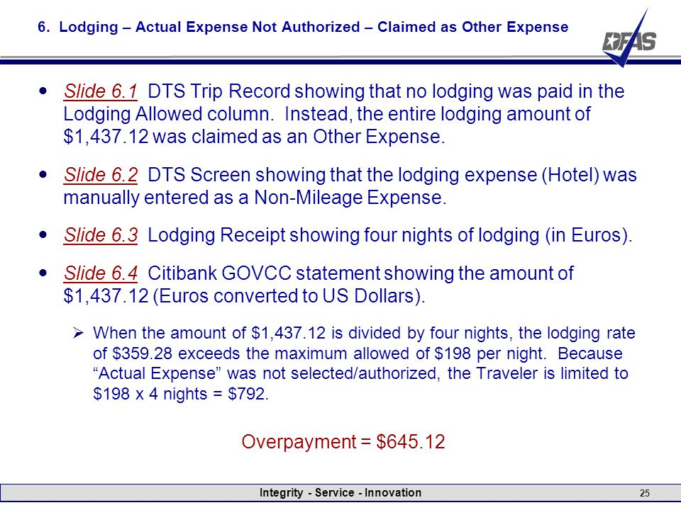 Integrity - Service - Innovation 25 6. Lodging – Actual Expense Not Authorized – Claimed as Other Expense Slide 6.1 DTS Trip Record showing that no lo