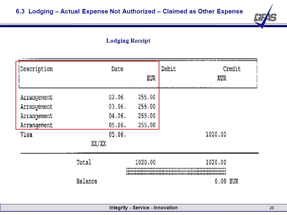 Integrity - Service - Innovation 28 6.3 Lodging – Actual Expense Not Authorized – Claimed as Other Expense Lodging Receipt