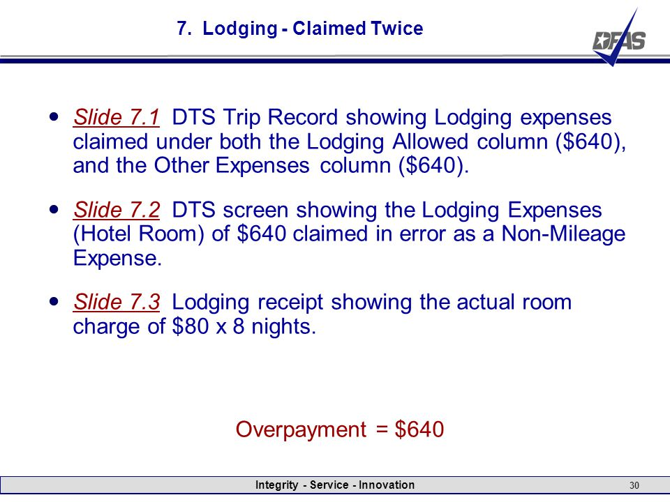 Integrity - Service - Innovation 30 7. Lodging - Claimed Twice Slide 7.1 DTS Trip Record showing Lodging expenses claimed under both the Lodging Allow