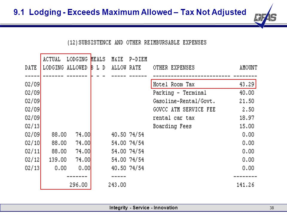 Integrity - Service - Innovation 38 9.1 Lodging - Exceeds Maximum Allowed – Tax Not Adjusted