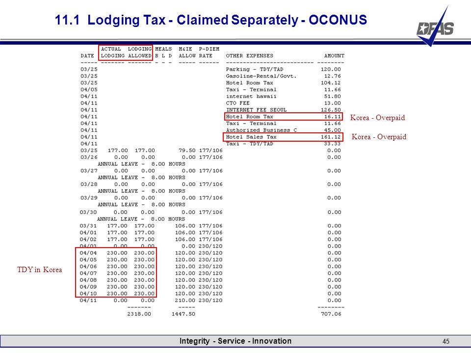 Integrity - Service - Innovation 45 11.1 Lodging Tax - Claimed Separately - OCONUS TDY in Korea Korea - Overpaid