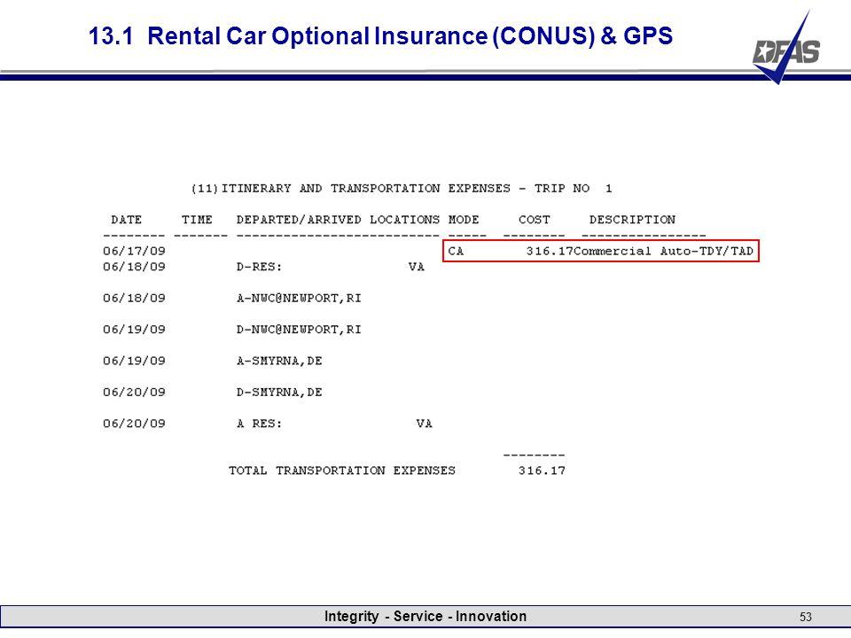 Integrity - Service - Innovation 53 13.1 Rental Car Optional Insurance (CONUS) & GPS