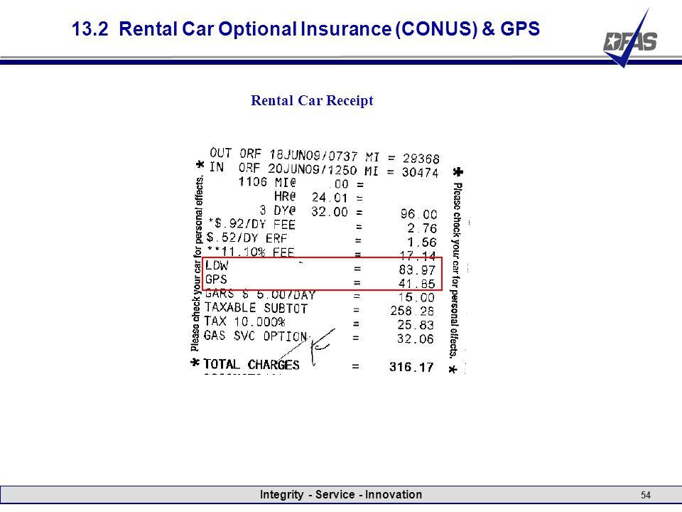 Integrity - Service - Innovation 54 13.2 Rental Car Optional Insurance (CONUS) & GPS Rental Car Receipt