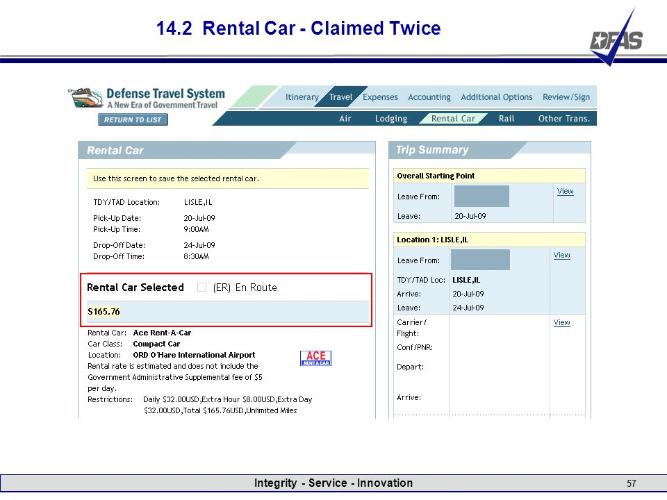 Integrity - Service - Innovation 57 14.2 Rental Car - Claimed Twice