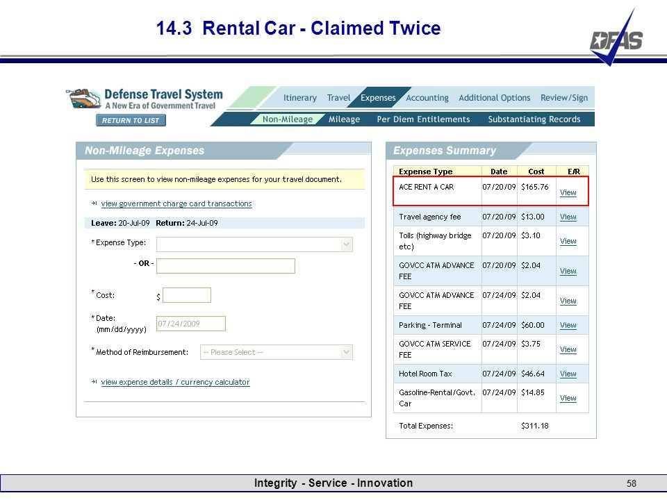 Integrity - Service - Innovation 58 14.3 Rental Car - Claimed Twice