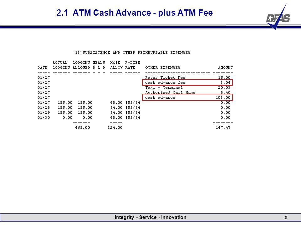 Integrity - Service - Innovation 9 2.1 ATM Cash Advance - plus ATM Fee