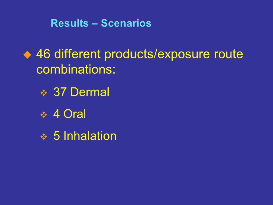 SM The Home of the Cleaning Products and Oleochemical Industries Slide 13 Results – Scenarios  46 different products/exposure route combinations:  3