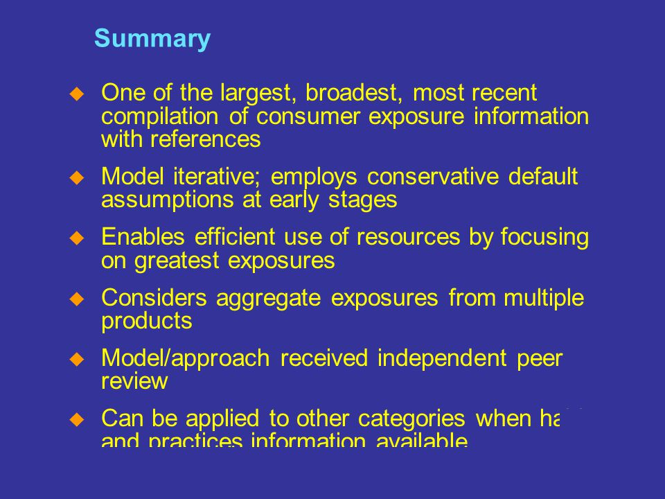 SM The Home of the Cleaning Products and Oleochemical Industries Slide 19 Summary  One of the largest, broadest, most recent compilation of consumer